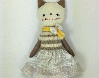 Cat doll- Kitten doll- Kitty-Linen cat-zakka
