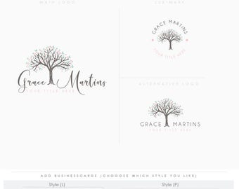 Full bloom tree 2 Feminine logo Watercolor Logo Design Branding Package Inc. Photography Logo Watermark - tree initials letters script Logo