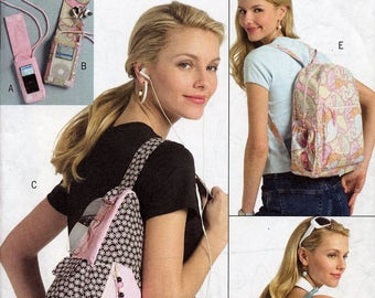 Backpack sewing pattern, Butterick B5054, small MP3 player cover, 3 variations of backpacks