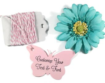 Pink Butterfly Tags Set of 20 - Custom Light Pink Wedding Favor Tags - Butterfly Party Tags - Thank You Bridal Shower - Butterfly Shaped Tag