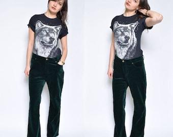 Vintage 90's Green Velvet Pants / dark Green Velvet Pants / Straight Leg Velvet Pants - Size Medium/Large