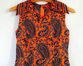 1 WEEK SALE! 30 % off. Orange and black Boho Indian batik dress size xsmall / small