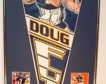 San Diego Chargers Doug Flutie pennant and football cards!! Custom Framed