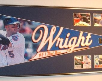 NY Mets David Wright Player Pennant & Cards...Custom Framed!!!!