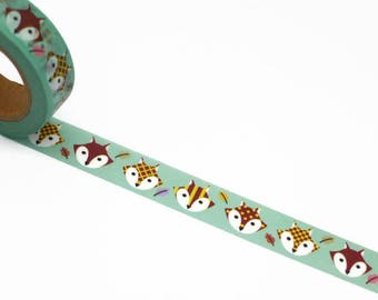 Fox Washi Tape - Green Masking Tape - Woodland Theme