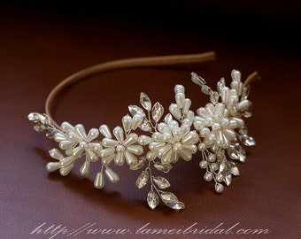 Pearl Wedding Crown Circlet Tiaras with ribbon headband ,Ivory pearl and diamond  Headbands