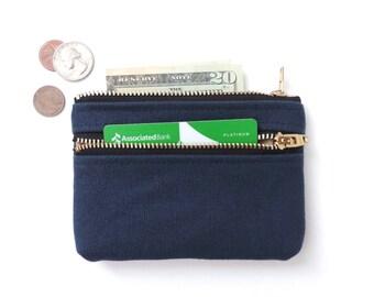 Coin Purse Wallet Double Zipper Pouch Canvas Coin Purse Navy Blue