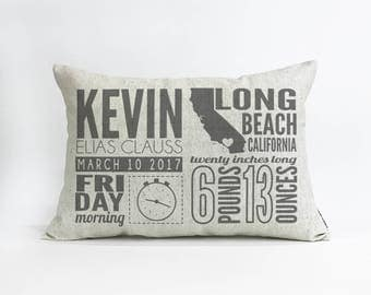 Birth Announcement Linen Pillow / Custom Baby Gift / Gift for New Mom / New Baby Gift / Baby Information Print / Custom Pillow