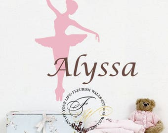 Dance Wall Decal - Personalized Name Wall Decal - Baby Girl Nursery Wall Decal - Girls Room Wall Decal - Ballerina Wall Decal - Ballet GN035