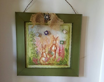Magnet Memory Board...Bling magnets..Decoupage  bunny scene..Metal memory board..Cottage Chic..Burlap Bow with Vintage Brooch/Nursery Decor