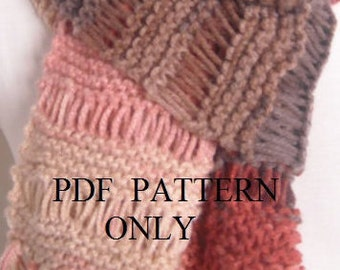 PDF pattern chunky red dropstitch  scarf , PDF pattern chunky knitted lace scarf ,Instant to download