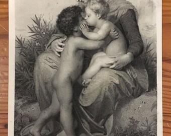 "1876 Steel Engraving ""Fraternal Love"" by Bouguereau 8x12"