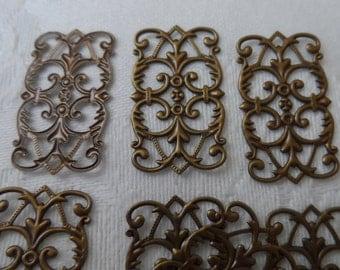 "Vintage gold plate brass thin filigrees, 1""x7/16th"",10pcs-FLG70"