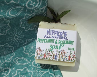 Niffer's All Natural Pepperming & Rosemary Soap 4.8 oz.