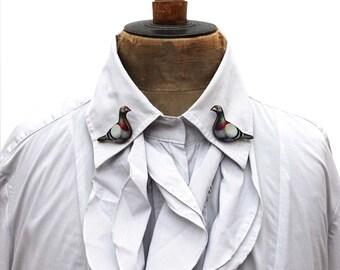 Lapel pin, racing pigeon lapel pins, pigeon collar pins, pigeon accessories, pigeons, pigeon jewellery, collar jewellery, pigeon