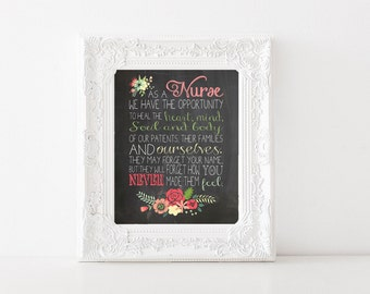 As a Nurse Printable - Inspirational Typography - Maya Angelou Quote - 8x10 Wall Art Print