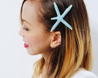 Blue Starfish Barrette -  Bridal Accessories, Wedding Hair Clip, Ariel Mermaid Barrette, Halloween Ariel, Christmas Gift Ideas