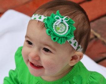 St Patricks Day Headband, Clover Headband, Happy St Patricks Day, Shamrock Headband, Green Clover Headband, Green Flower Headband, Green Bow