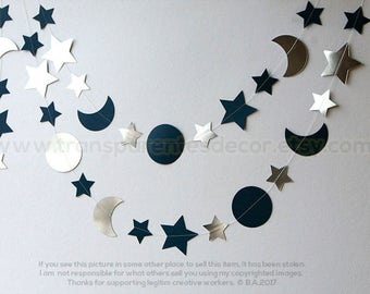 Silver and Blue Moon and Stars garland, I Love you to the Moon and Back Decorations, Nursery Wall Decor, Paper garland
