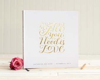 Wedding Guest Book with Real Gold Foil guestbook All You Need is Love 12x12 album personalized ...