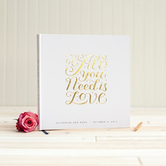 Wedding Guest Book with Real Gold Foil guestbook All You Need is Love 12x12 album personalized instant photo wedding gift sign in hardcover