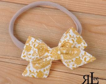Dainty Mustard Bow - Folded Sailor Bow - Hair Bow - Sailor Headband - Clip