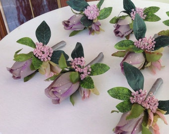 CLEARANCE Boutonniere, Wedding Boutonniere, Rose Boutonniere, Groom Boutonniere, Wedding Decorations, Lavender and Gray Boutonnniere