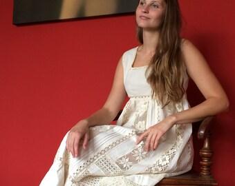 Boho Bohemian Handmade linen lace ecru summer dress / night gown / midsummer / size M