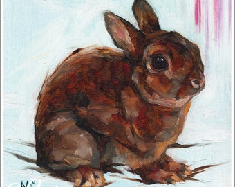 Print or Note Card: Brown Bunny