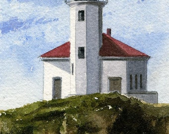 Cape Arago Lighthouse, Coos Bay, Oregon. Matted art prints, 5x7 blank notecards of original watercolor.