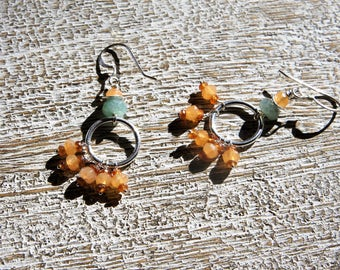 AVENTURINE, HOOP chandelier EARRINGS. Green, red aventurine, sterling silver hoops & disks/hessonite garnet/faceted natural gemstones/ Boho