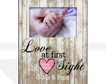 New Grandparent Gift Custom Photo Frame First Grandchild Gift First Granddaughter Gift New Grandma Grandparents Personalized Picture Frame