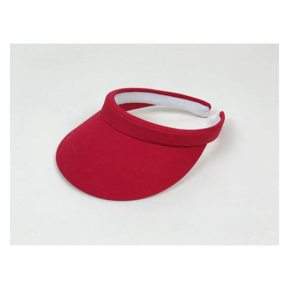 90's RED Sun Visor Beach Hat Bleached Grunge Summer Beach Pool Visor - 80s 90s Cherry Red Sun Visor - Sporty Open Back Basic Solid Color Hat