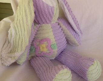 Chenille Bunny - Lavender and Mint