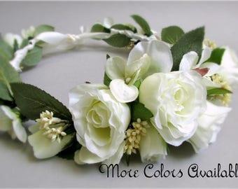 "Ivory or Pink and Ivory Flower Crown, Spray Roses, Hydrangea, Light Green Rose Leaves, Bridal Head Wreath, Silk Wedding Flowers, ""Ella"""