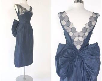 vtg 50s midnight navy blue taffeta dress / bustle bow / draped panels / sheer chiffon illusion dot neckline / plunging back / ruched waist