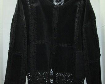 SCULLY Jacket, Blazer, Black Suede & Crochet, Sm-Med