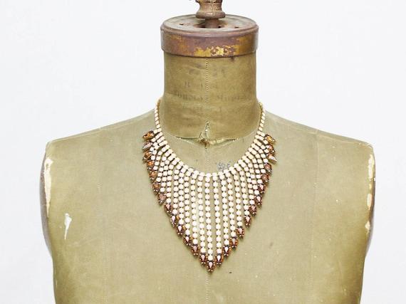 Rhinestone Statement Necklace - 60s Bridal Necklace - Vintage 1960s Rhinestone Bib Necklace