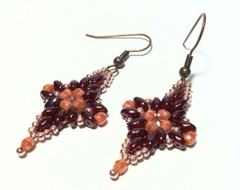 long earrings red earrings Super duo beads fire polished glass beads