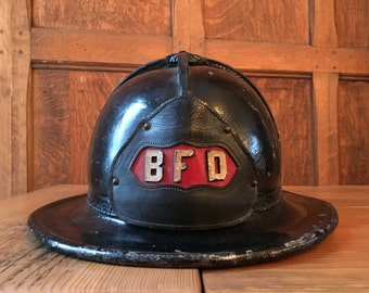 Antique Barrington Fire Department Helmet, Leather Firemans Helmet, BFD, Cairns & Brother Helmet, Firefighter Gift, Firefighter Decor