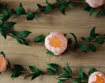 Paper Peony Garland with Leaves, Wedding Garland, Wedding Backdrop, Arch Garland, Bridal Decorations, Floral Garland, Custom Chair Garland