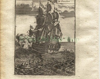 1719 Manesson Mallet Ships Rigging, Sails, Flags, Ropes, Galleon, Ships Man-of-war, Frigate, Boats, Antique Print