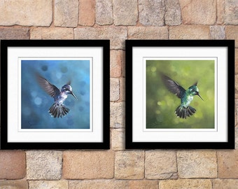 Set of 2 hummingbird oil painting fine art prints - discounted price - giclee prints