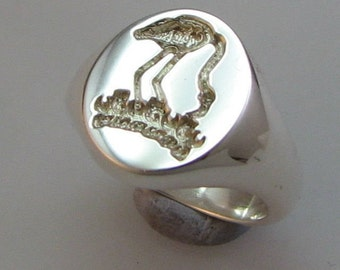 Crest engraved signet ring , deep reverse seal style sterling silver hallmarked bespoke to your design