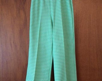 Vintage Women's Green White Houndstooth Polyester Pants James Keurol 10 Small