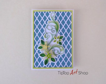 Spring Quilling Greeting Card with Handmade Paper Flowers
