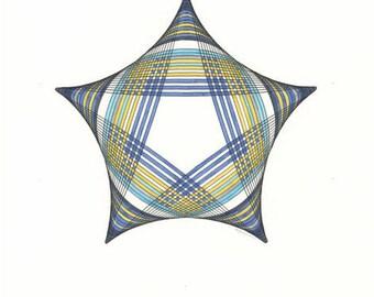 Star Art, Abstract Drawing, Original Art Work, Blue Art, Star Drawing, Yellow Art, Star Wall Art, Star Illustration, Modern Wall Art 11x14