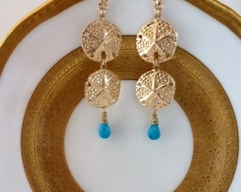 Sea Dollar Treasures Earrings are featherlight 14kt goldfilled sand dollars, two by two, swinging Sleeping Beauty turquoise briolettes.
