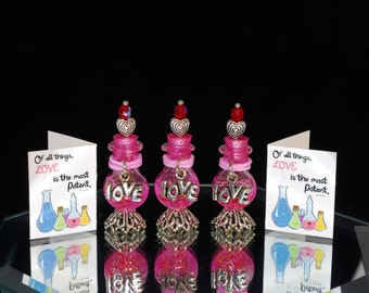 one miniature glass love potion bottle with card