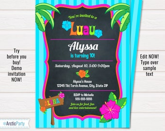 Luau Invitations - Luau Party Invitations - Luau Birthday Party - Hawaiian Invitations-  INSTANT Download- Edit NOW with Templett.com!!